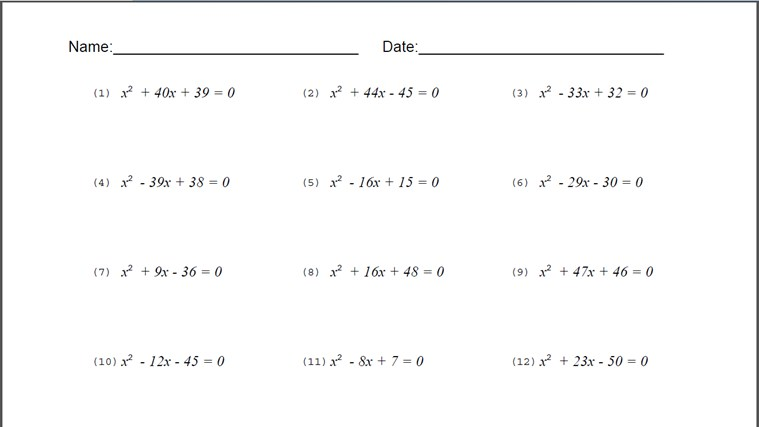 Quadratic Equation Worksheet quadratic equations worksheet – Quadratic Equation Worksheet Pdf
