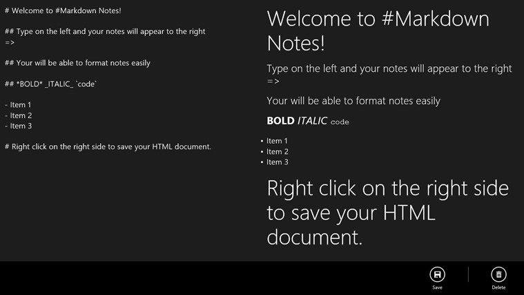 #Markdown Notes screen shot 2