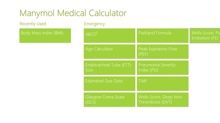 Manymol Medical Calculator full screenshot