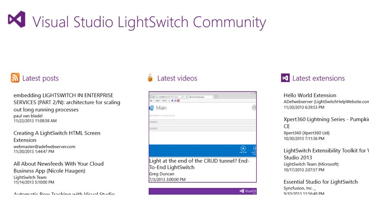 Visual Studio LightSwitch Community screen shot 0