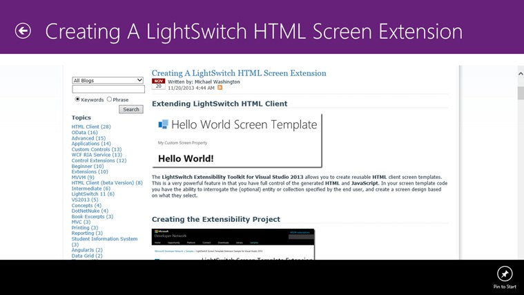 Visual Studio LightSwitch Community screen shot 2