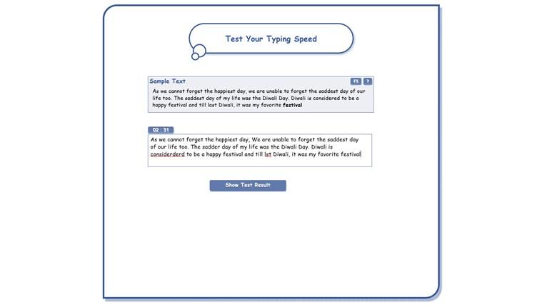 Typing Speed Test screen shot 2
