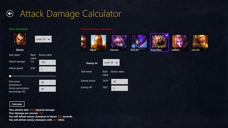 League of Legends damage calculator gabháil scáileáin 2