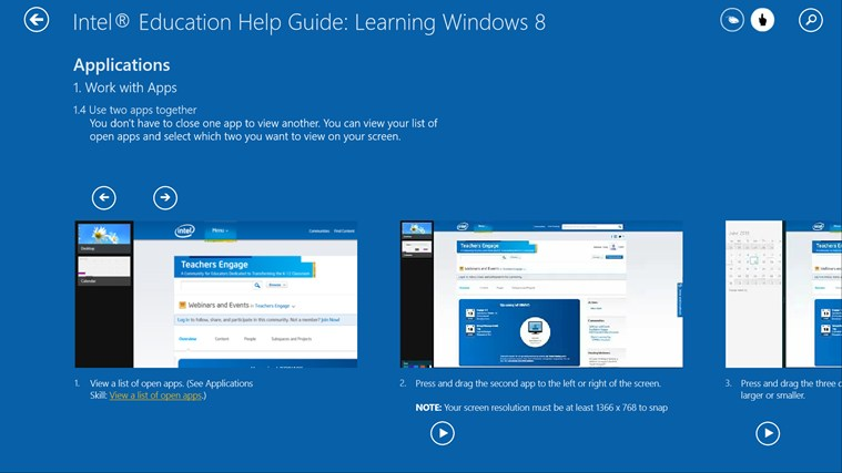 Intel® Education Help Guide: Learning Windows* 8 screen shot 2
