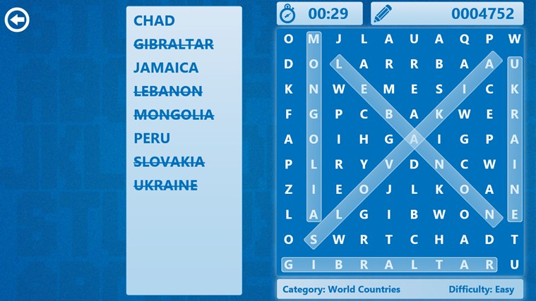 Word Search Windows 8 Game