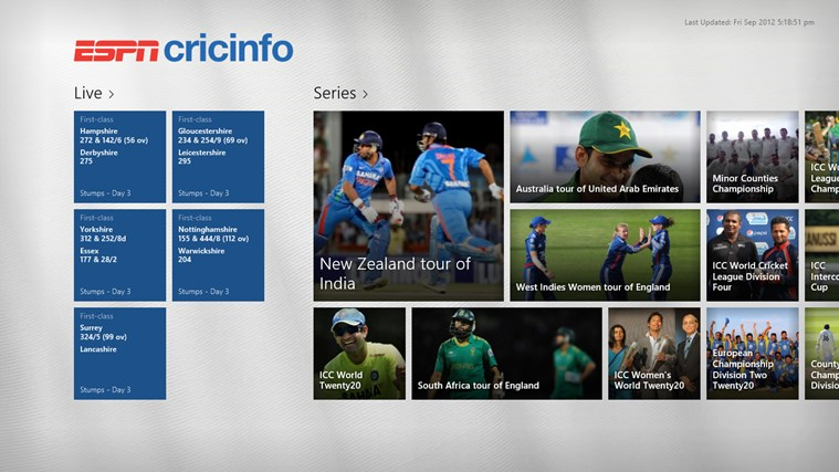 ESPN Cricinfo app for Windows in the Windows Store