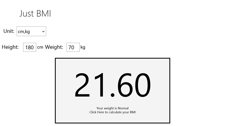 Just BMI screen shot 2