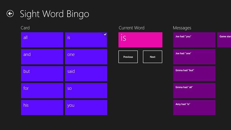 Sight Word Bingo captură de ecran 0