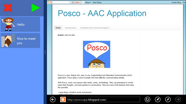 Posco AAC screen shot 2