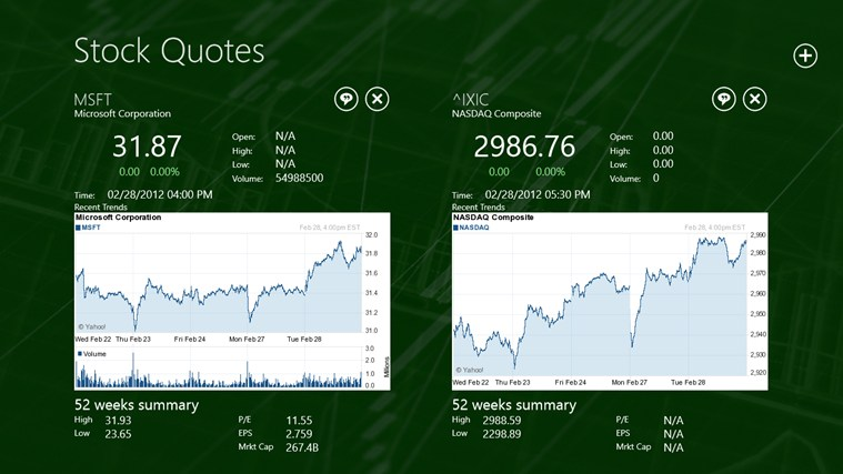 Stock Quotes screen shot 2