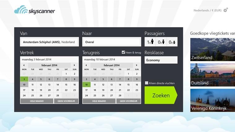 Skyscanner schermafbeelding 0