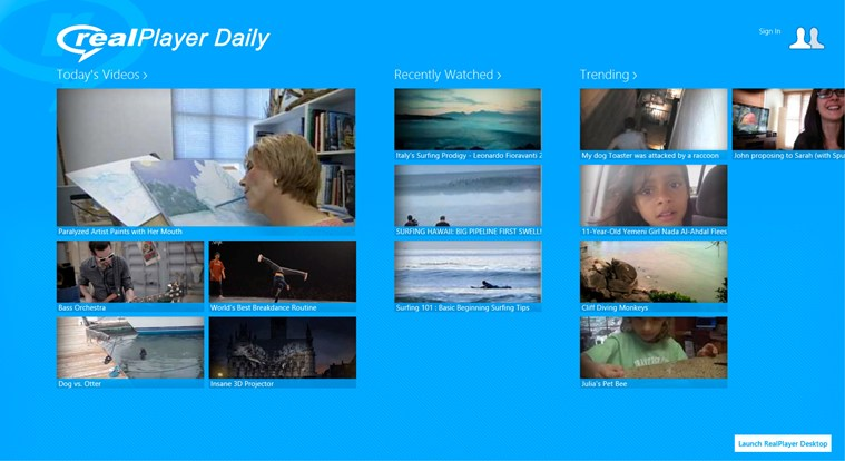 RealPlayer Daily Videos screen shot 0