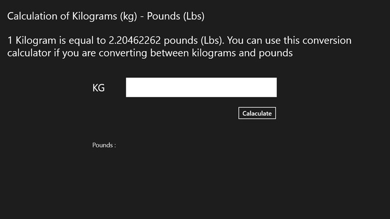 Calculation of Kilograms (kg) - Pounds (Lbs) screen shot 0