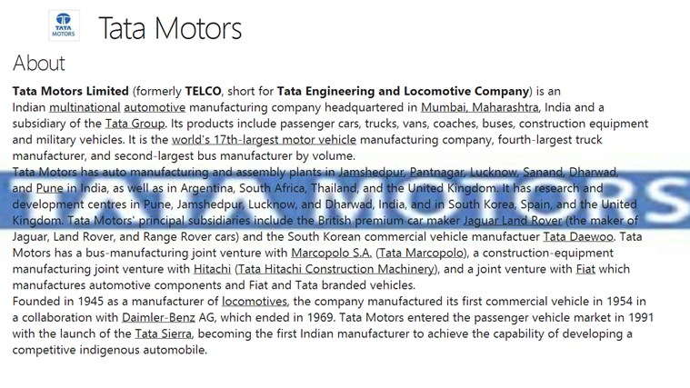 an overview of the tata engineering and locomotive company telco in india In 1945 tata group established the tata engineering and locomotive company (telco) tata group chairman ratan tata next to the the tata group, india's.