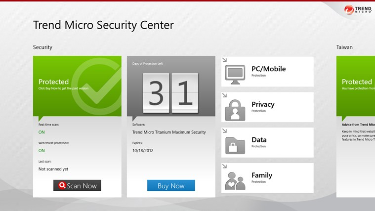 Trend Micro Security Center screen shot 0