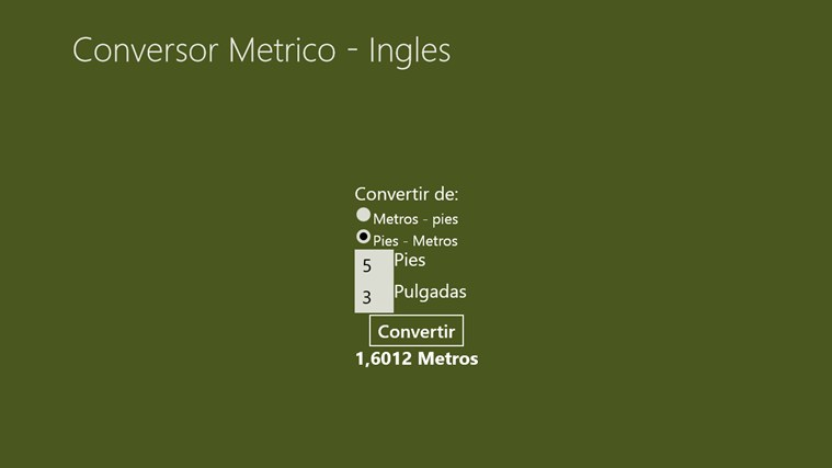 Conversor Metrico - Inglés screen shot 2