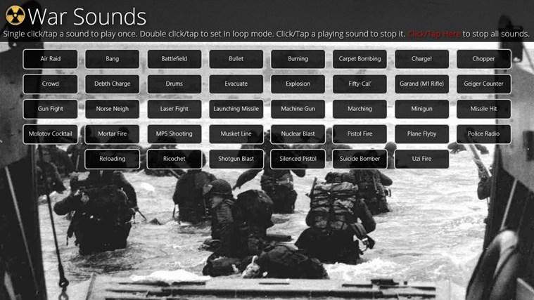 War Sounds for Windows Phone full screenshot