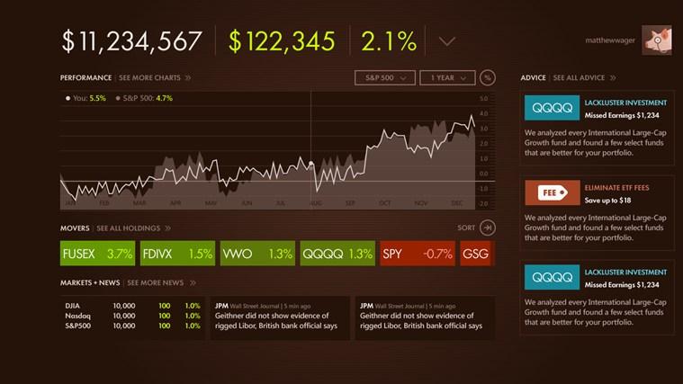 SigFig Portfolio screenshot