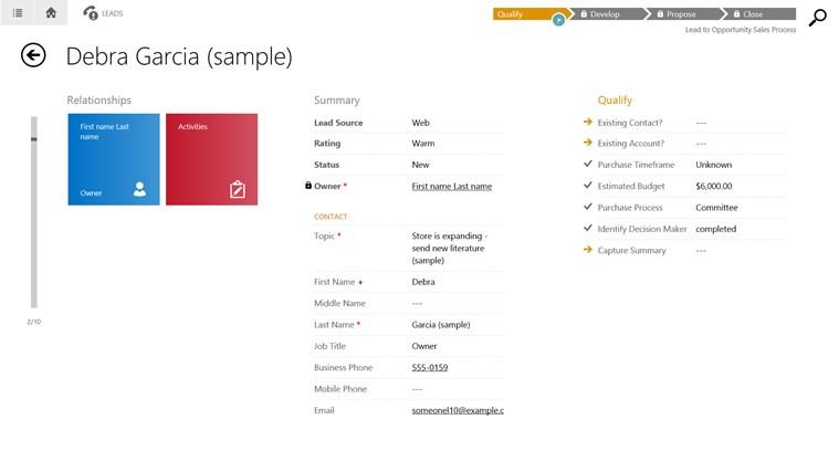 Microsoft Dynamics CRM screen shot 2