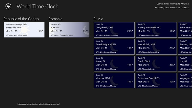 World Time Clock screen shot 4