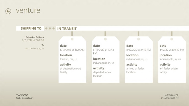 Trackage screen shot 2