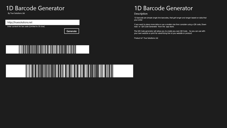 1D Barcode Generator screen shot 0