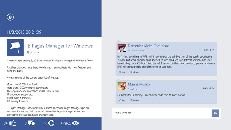 FB Pages Manager screen shot 4