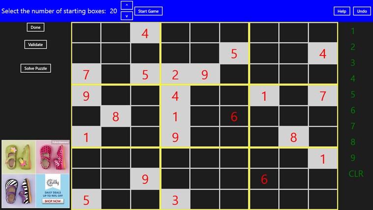 Complete Sudoku screen shot 2