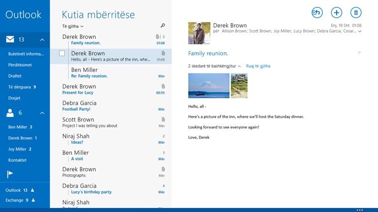Posta, Kalendari dhe Kontaktet pamje të çastit 0
