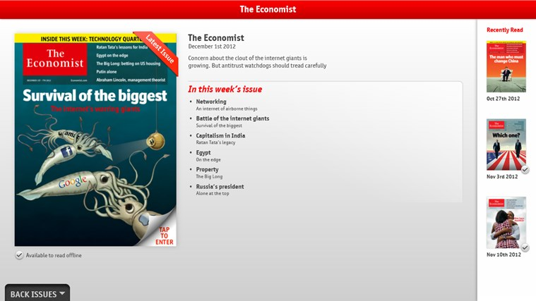 The Economist on Windows screen shot 0