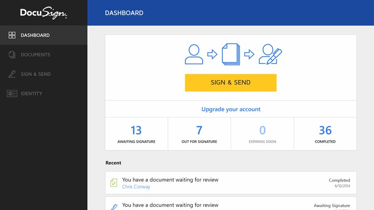 DocuSign screen shot 2