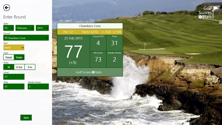 Golf Scores + Stats screen shot 2