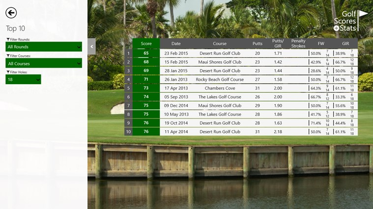 Golf Scores + Stats screen shot 8