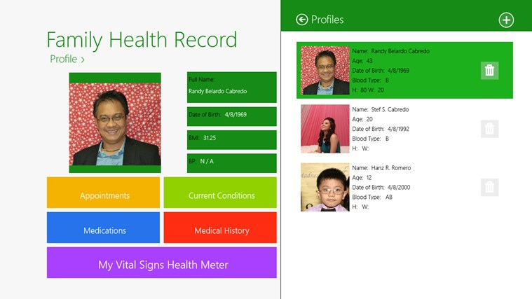 Family Health Record screenshot