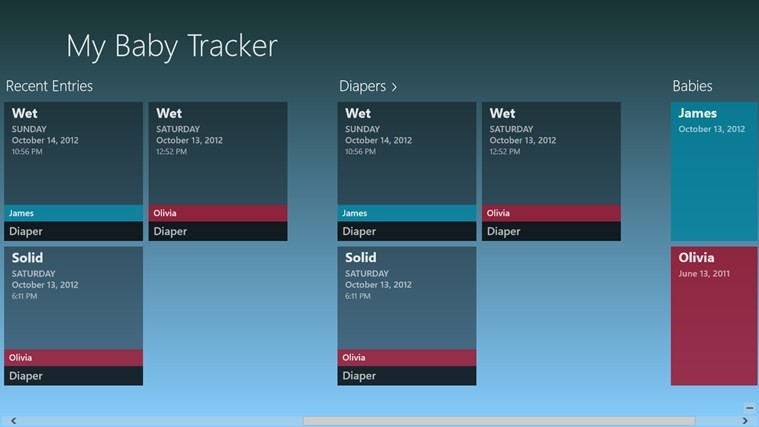 My Baby Tracker in the Windows Store