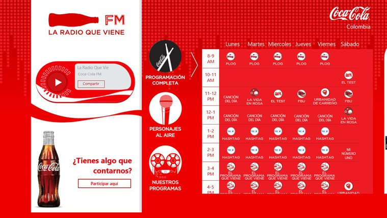 Coca Cola FM screen shot 2