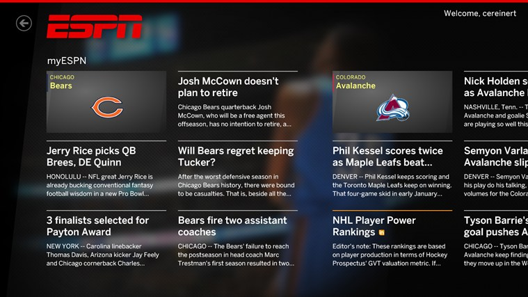 The ESPN App screen shot 0