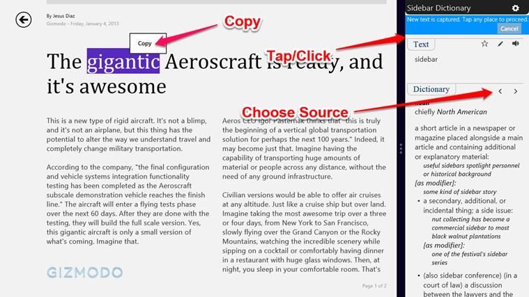 Sidebar Dictionary screen shot 2
