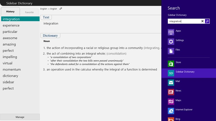 Sidebar Dictionary screen shot 4