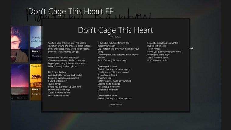Don't Cage This Heart Album App captura de pantalla 2