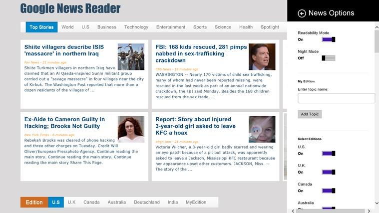 Google News - Reader screen shot 2