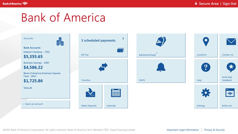 Bank of America screen shot 0