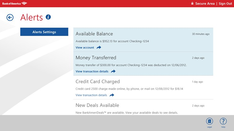 Bank of America screen shot 6