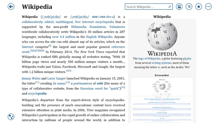 Bing Wikipedia Browser screen shot 0