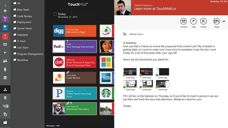 TouchMail captura de tela 4
